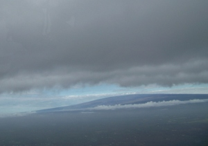 Mauna Loa from the air on a rainy day